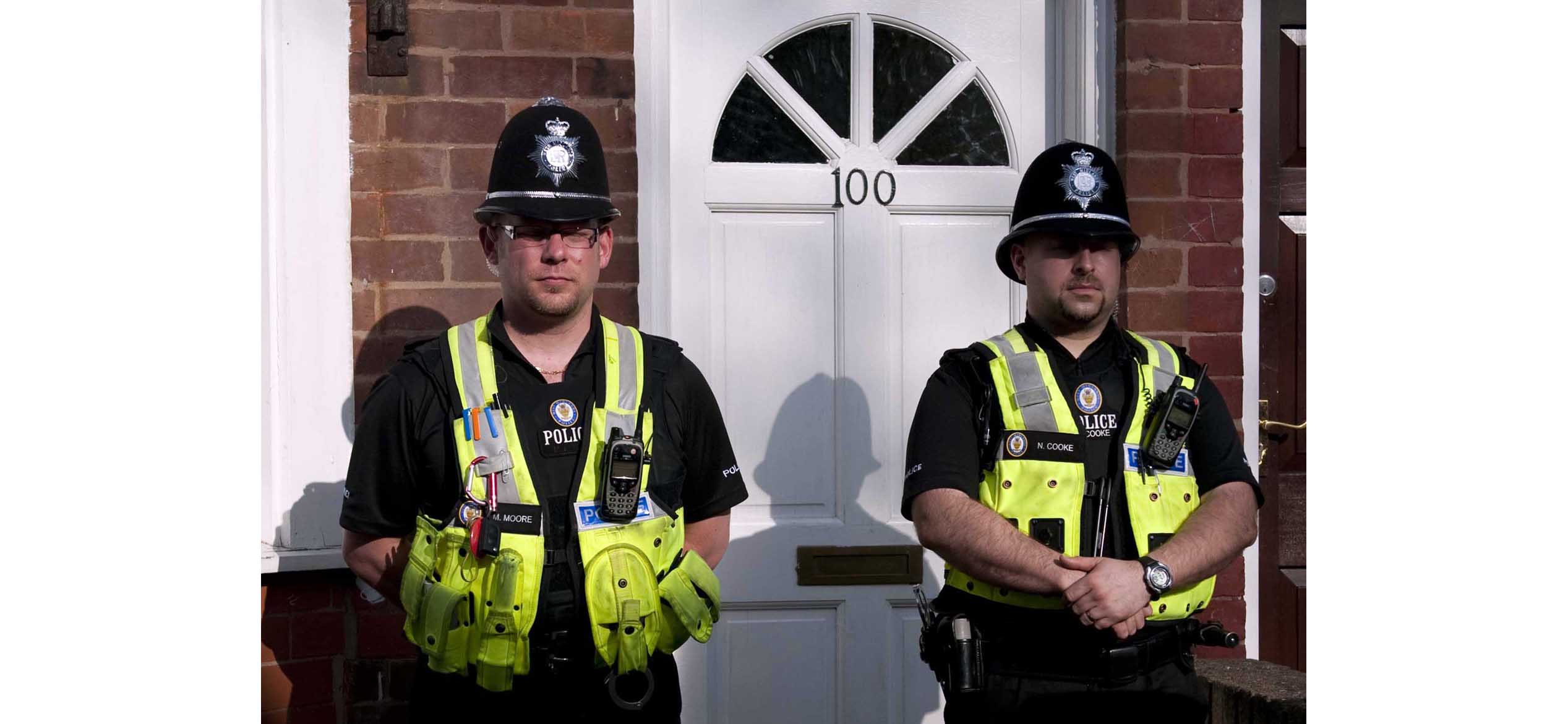 Police outside no 100 at the scene in Albert Road, Birmingham.