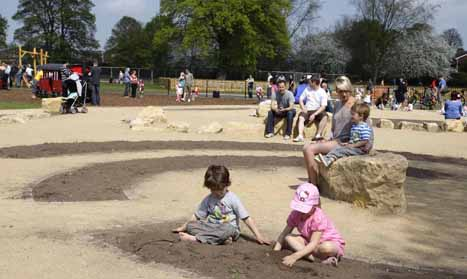 Parents  with their toddlers at Beacon Park , Lichfield.
