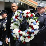 Barack Obama lays a wreath at Ground Zero in memory of the 9/11 victims