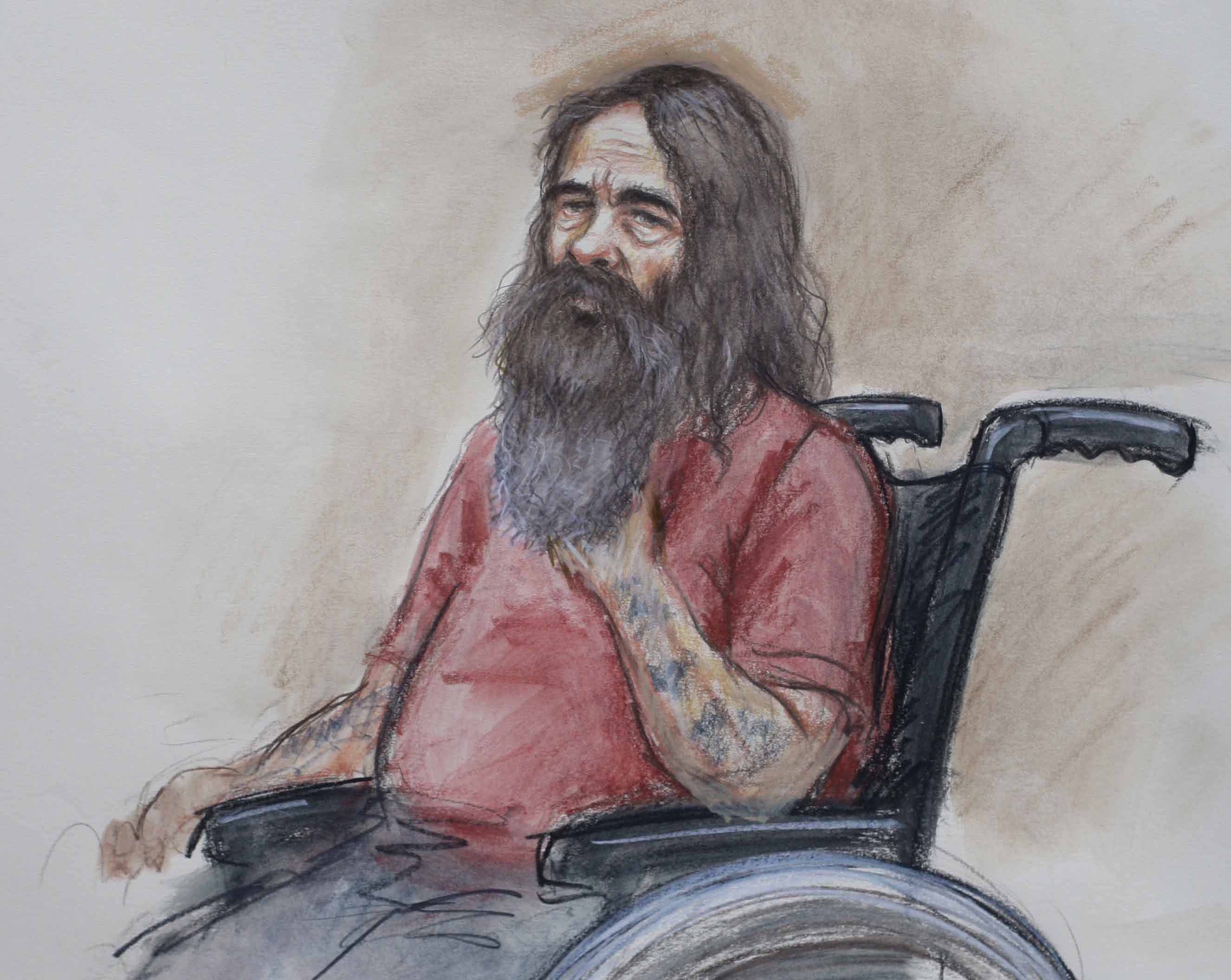 Artist impression of Robin Ligus, a 58-year-old prisoner who has been charged with three murders
