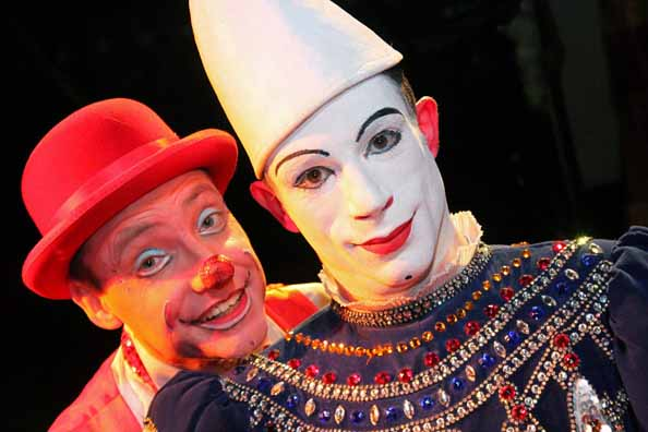 Cakehole (L) and Pophole (R), clowns from John Lawson's Circus.