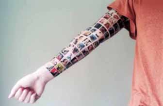 A woman has had the profile pictures of her Facebook friends tattooed onto her entire arm.