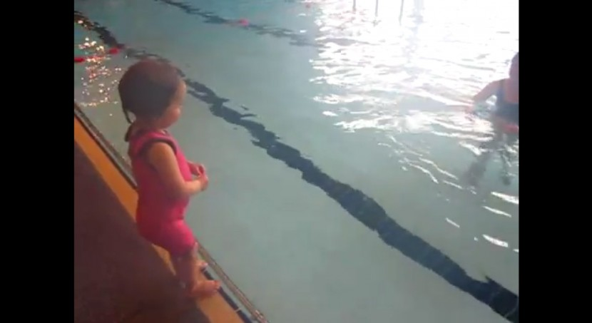 Water baby can swim width of pool