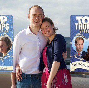 Liz Goodall, 25, and fiance Tom Trump, 27, celebrating their nuptials with memento pack of personalised Top Trumps cards