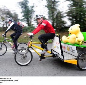 Television present Matt Baker is peddling a rickshaw from Edinburgh to London to raise money for BBC Children in Need.