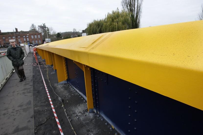 Council workers paint bridge wrong colour