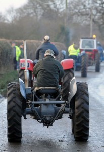 Tractors taking part in the annual vintage tractor run to Haughton, Stafford.