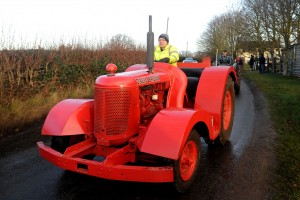 A strange David Brown tractor takes part in the annual vintage tractor run to Haughton, Stafford.