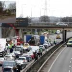Van careerers onto motorway