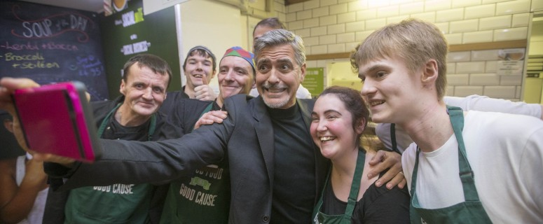 11/11/15... EDINBURGH. Actor George Clooney visit's Social Bite sandwich shop in Edinburgh where he met owner Josh Littlejohn and Alice Thompson and formerly homeless staff Stephen McCranor of Frame PR 07887886394 for press release and more info