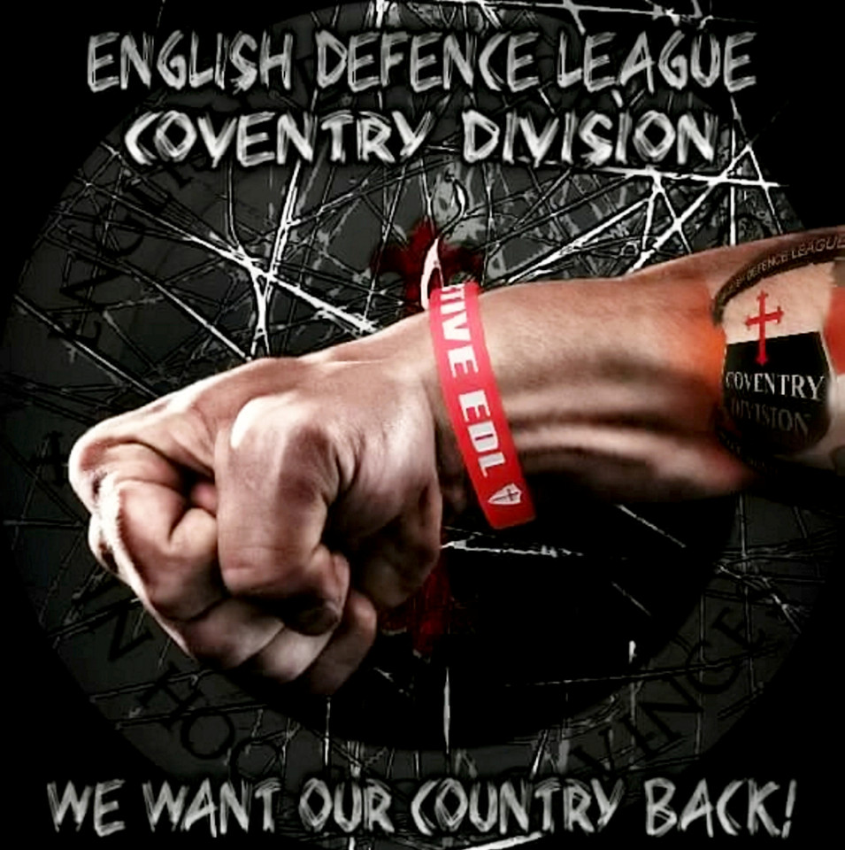 EDL THUG FINED FOR WAVING ENGLAND FLAG WITH RACIST SLOGAN
