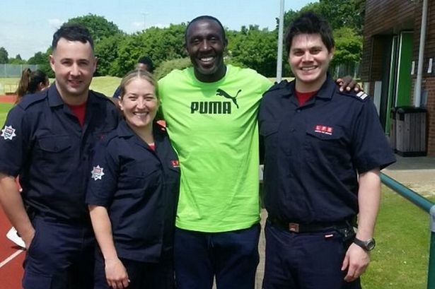 LINFORD CHRISTIE HELPED FIREFIGHTERS WITH A CRASH