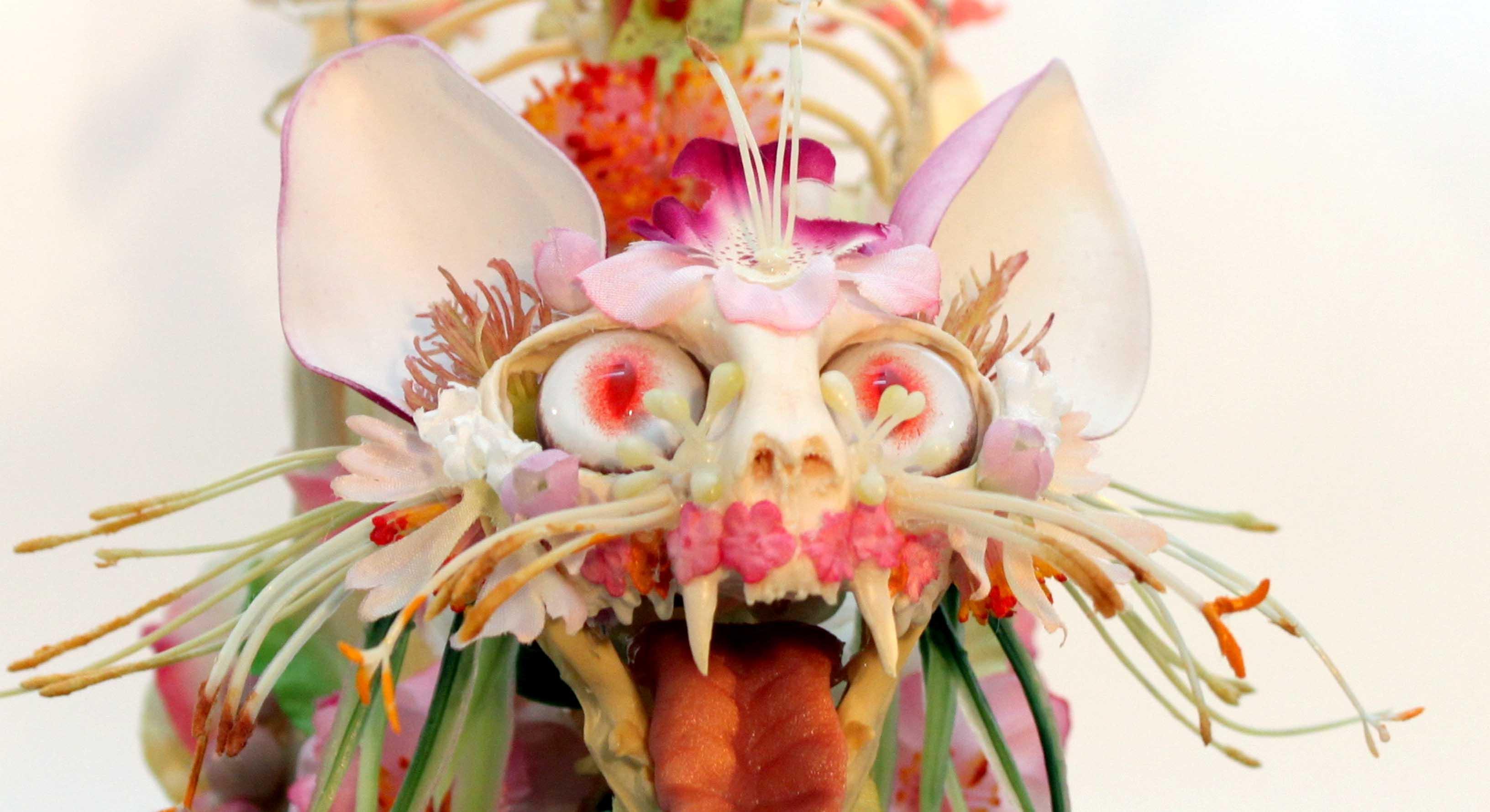 Skeletons dressed in flowers