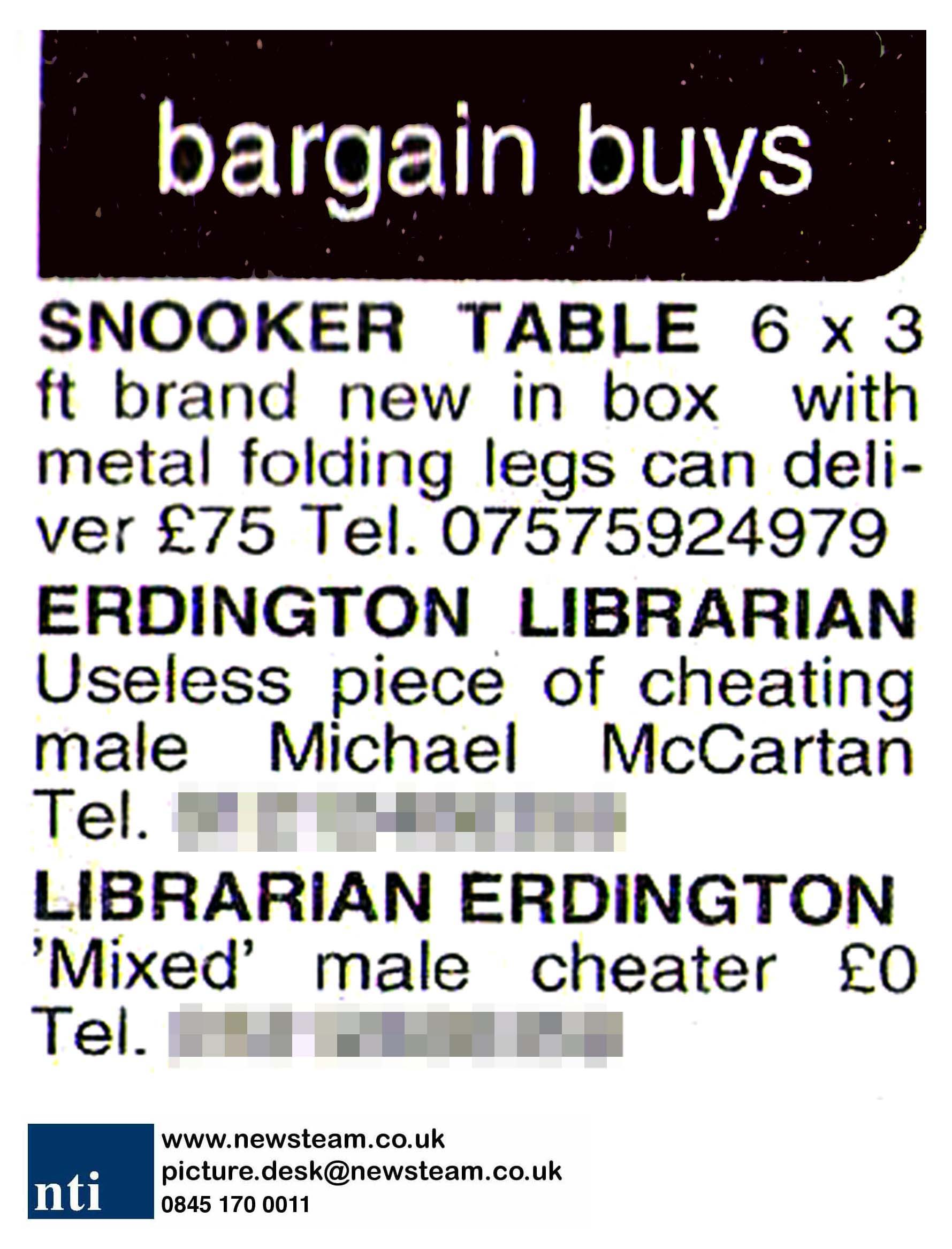 Jilted lover names and shames cheating ex in local newspaper