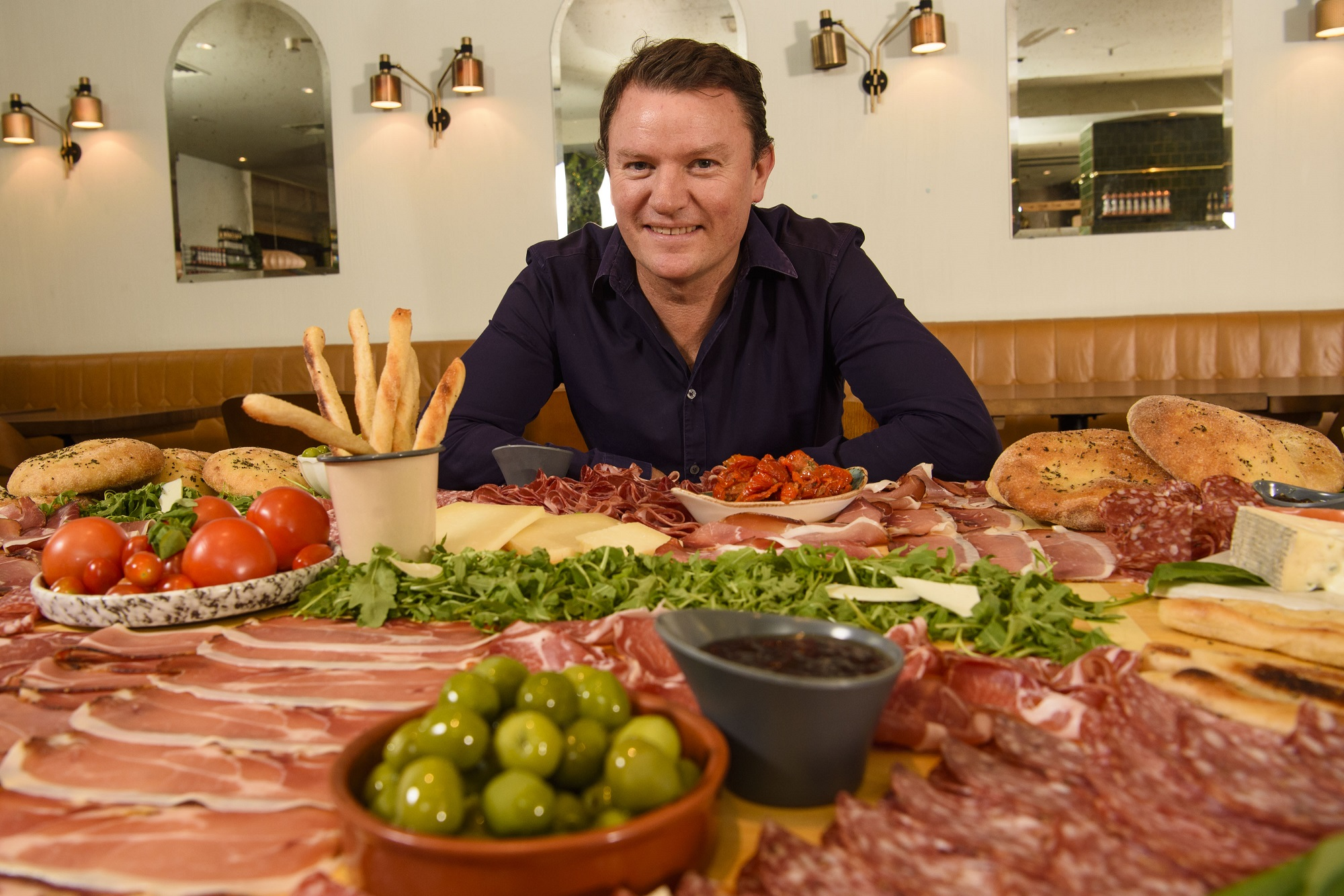 Theo Randall  pictured as ASK Italian attempted the world record for the biggest antipasti 'Gigantipasti', to celebrate their autumn menu launch askitalian.co.uk.