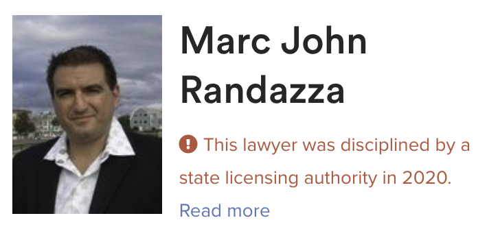 Avvo issued Marc Randazza the LOWEST RATING possible of 1 of 10 with Extreme Caution